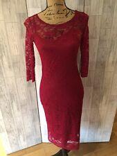 Jolie Moi Pink Scalloped Lace Lined Stretch Dress Sz12/40