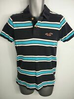 MENS HOLLISTER BLUE WHITE STRIPED SLIM SHORT SLEEVE POLO SHIRT TOP SIZE SMALL S