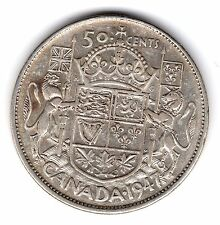 1947 C7 Wide Date Canada 50 Fifty Cents .800 Silver Half Dollar Coin A159