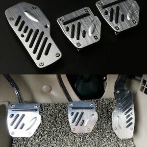 3PCS Car Non-slip Aluminum Alloy Accelerator Pedal Foot Pedals Pad Cover Silver
