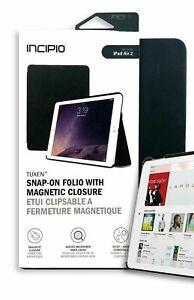 Incipio Tuxen Slim Leather Folio Case Magnetic Closure fits iPad Air 2 Black