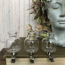 Set of 3 Mini Clip On Bud Vases Hanging Glass Flower Wedding Wishing Tree Decor
