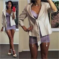 VINTAGE 50s style LADYLIKE 10 12 champagne dress jacket 3/4 sleeve sash belt new