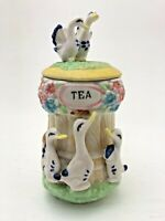 Vintage Birds and Flowers Pottery Tea Holder Pot Tub Container Doves Swans Ducks