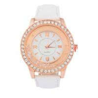 LP:Weiß Damen Lederarmbanduhr Armbanduhr Quarzuhr Strass Schmuck Watch Geschenk