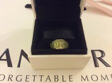 Pandora 14k Gold Murano Charm, Green Swirls, SUPERB CONDITION