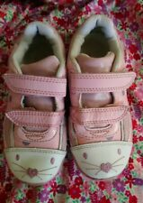 Clarks Girls Binkies Pink & White Light Up Trainers Size 8.5