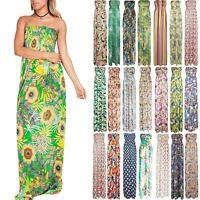 Womens Ladies Boobtube Sheering Strapless Print Gathered Bandeau Maxi Long Dress