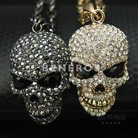Rock Skull Head Pendant Necklace Mens Unisex Biker Jewelry Crystal