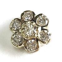 0.5 cttw Natural Diamond Solid 14k Yellow Gold 7 Stone Flower Drop Woman Pendant