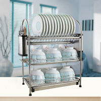 3Tier Stainless Steel Kitchen Shelf Drying Drain Storage Holders Plate Dish