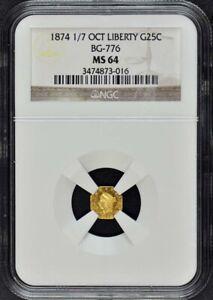 1874 1/7 California Fractional Gold BG-776 G25C NGC MS64 OCTAG LIBERTY