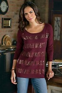 NWT SOFT SURROUNDINGS Monaco Sweater Sequined Cotton Wool Cashmere Burgundy L