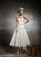 New White/Ivory Short Lace Wedding Dress Bridal Gown Size 6 8 10 12 14 16