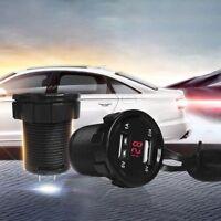 12V DC Motorcycle Car 3.1A Dual USB LED Charger Socket Voltage Voltmeter Panel
