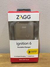 Zagg Ignition Portable Charger Power Bank 6000mah Dual USB Ports Gold