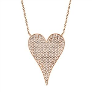 14K Rose Gold Diamond Heart Pendant Necklace Pointy Round Cut Natural Womens