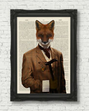 VINTAGE DICTIONARY BOOK PAGE ART PRINT FOX IN CLOTHES WALL ART ANIMAL GENTLEMAN