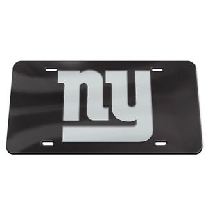 NEW YORK GIANTS BLACK AND SILVER CRYSTAL MIRRORED CAR LICENSE PLATE NFL LICENSED