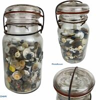 Atlas E-Z Seal Jar Full Of Vintage Buttons Collection