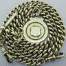 Heavy Antique Solid Silver Double Albert Pocket Watch Chain T-Bar & Fob Bir 1918