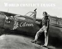USAAF WW2 P-47 Fighter Eileen & Pilot 8x10 Nose Art Photo 78th FG RAF Duxford