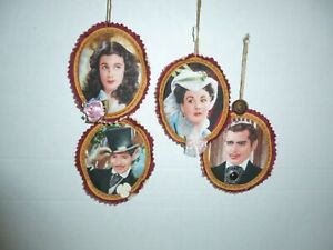 4 Handcrafted Gone With The Wind Fabric Ornaments Rhett Butler & Scarlett O'Hara