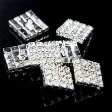 10 Pcs Rhinestone Crystal Rectangle Sewing Scrapbooking Shank Buttons DIY Craft