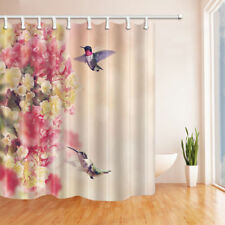 Hummingbird and colored flowers Shower Curtain Bathroom Fabric & 12hooks 71*71in