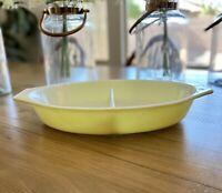 Vintage Pyrex Yellow 1 Quart Split Divided Casserole Dish Milk Glass USA
