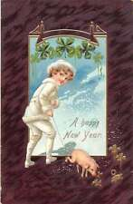 Happy New Year Child With Pet Pig Four Lead Clovers Tuck Antique Postcard K24014