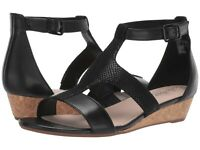 Women's Shoes Clarks ABIGAIL LILY Strappy Leather Wedge Sandals 40584 BLACK