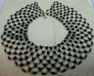 vintage clear & french jet black glass bead woven collar wide necklace -B5