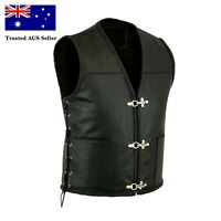 Mens Real Leather Fish Hook Waistcoat/Vest - Side Lace - AUS Stock