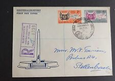 South Africa 1954 Cent Orange Free State SG149/50 FDC First Day Cover registered