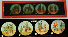 Ancienne plaque magic lanterne magique fin XIX Collec Officier Soldat Cavalier 8