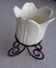 PartyLight Swirl Metal Based Ceramic Candle Holder Leaf Petal In Cream 22cm.High