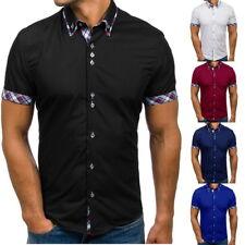 AU Fashion Men Short Sleeve Casual Shirt Lattice Summer Slim Fit Dress Shirt Top