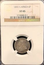 South Africa 1892 Silver $6 Pence NGC XF 45 Best Date