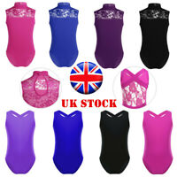 UK Girls Ballet Gymnastics Dance Leotards Kids Lace Splice Dancewear Aged 4-14Y