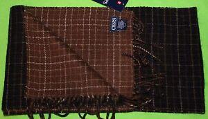 "NEW mens CHAPS brown SCARF acrylic FRINGE stripes PLAID winter 10"" W x 65"" L"
