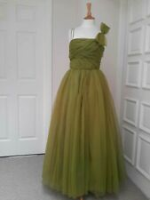 """Vintage 1950's pea green evening gown dress pleated bodice full skirt B32"""" W26"""""""