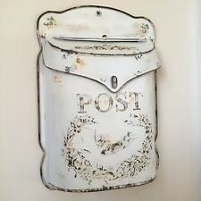 Vintage White Wall Mounted Post Box, Outdoor Letter Box, Wedding Card Post Box