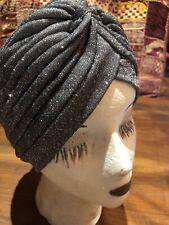 Vintage Silver Glitter Turban Hat