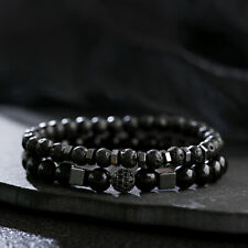 Fashion Natural Lava Stone Beads Hematite Balance Meditation Women Men Bracelets