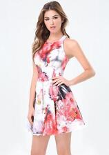 BEBE FLORAL PRINT SCUBA FLARED DRESS NWT NEW $139 MEDIUM M