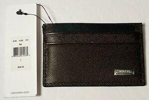 Calvin Klein CK Men's Textured Brown Leather Card Case Wallet BRAND NEW
