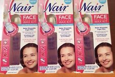 3 PACK NAIR HAIR REMOVER EYEBROWS & FACE ROLL-ON SUGAR WAX KIT FACIAL 60 STRIPS