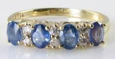 ENGLISH 18K GOLD RARE CEYLON SAPPHIRE & DIAMOND ETERNITY RING