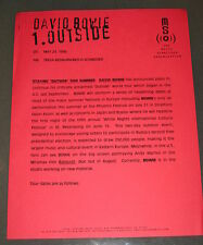 DAVID BOWIE—1996 PRESS RELEASE—'OUTSIDE' SUMMER CONCERTS